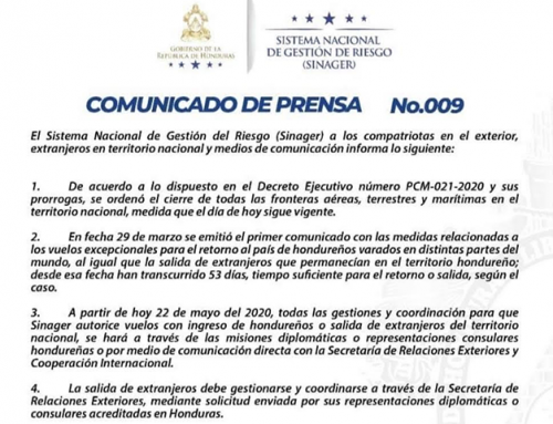 Communicado de prensa no.009